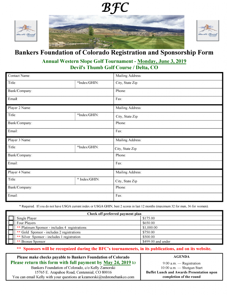2019 BFC Western Slope Golf Tournament Registration Form